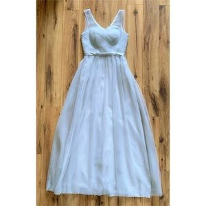 Grey Petite Formal Gown Wedding Prom Tulle Dress